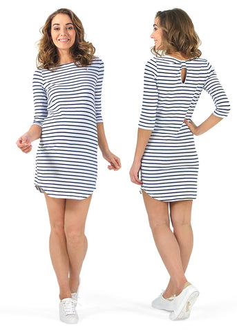 """Favora"" Maternity tunic; color: white/blue"