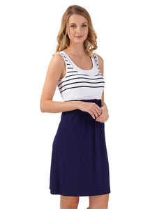 """Tricolor"" Maternity and nursing dress; color: dark blue/white"