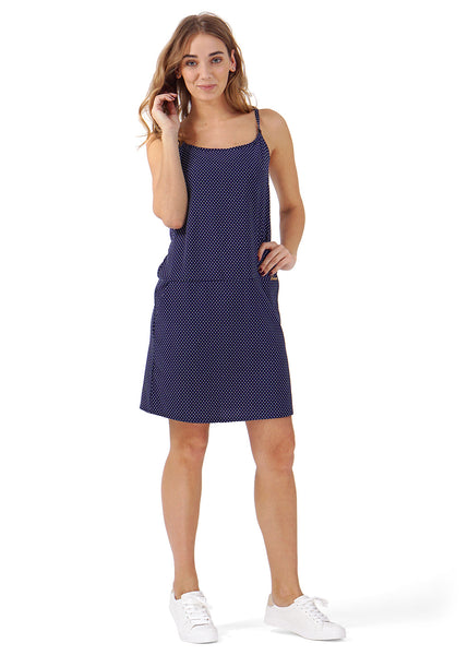 "Sundress ""Praline"" for nursing; color: dark blue/polka dots"