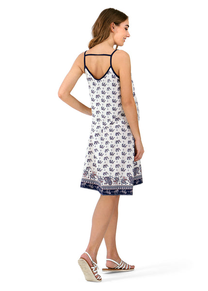 """Amaro"" maternity and nursing Sundress ; color: white/blue"