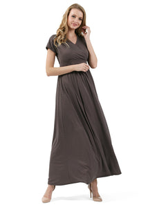 """Louise"" Maternity and nursing dress; color: coffee/peas"