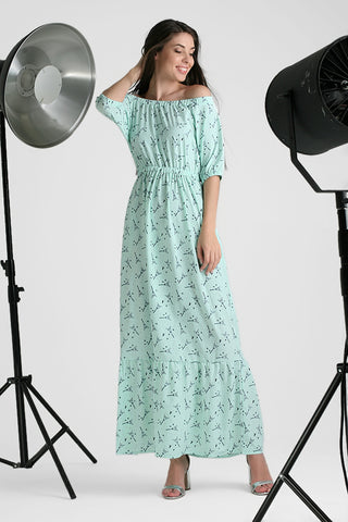 "Dress long ""Linel"" ; color: menthol"