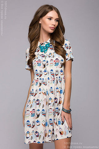 Dress FL00016VA color: vanilla, owls