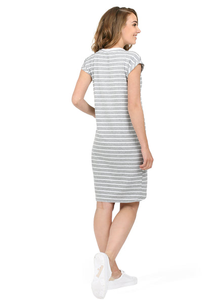 "Dress ""Tulip"" for pregnant and nursing; colour: grey melange white"