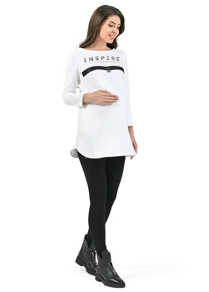 """Lily"" maternity and nursing tunic in milk"