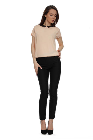 Blouse FH29788 powder color with a black collar