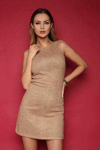 Dress FH30068 a suede color: beige