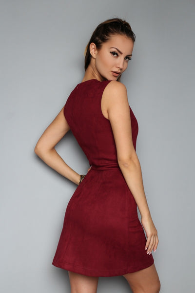 Dress FH30278 a suede color: Marsala