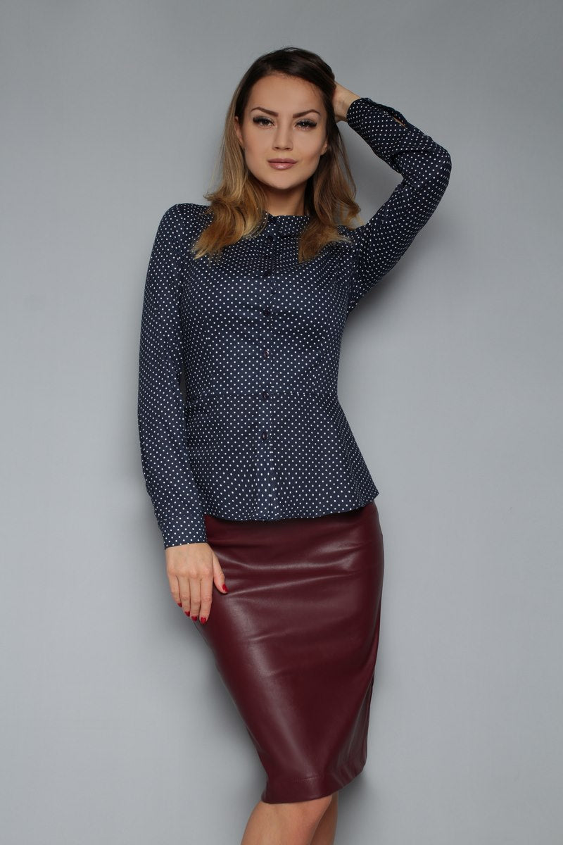 Skirt FH30086 eco leather color: Marsala