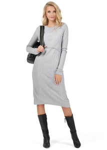 "Dress ""Charlize"" Maternity and lactating in grey melange"