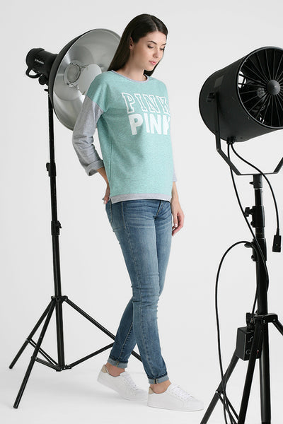 "Sweatshirt ""Evelina"" pink print color: mint"
