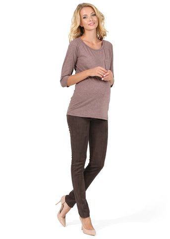 "Pants ""Swayd"" for pregnant eco-suede; color: chocolate"