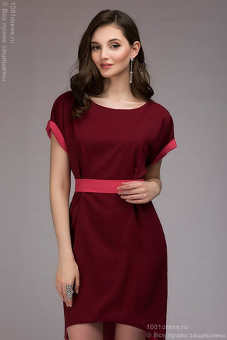Dress DM00394BC is a two-leveled two-sided dress; color: burgundy / coral