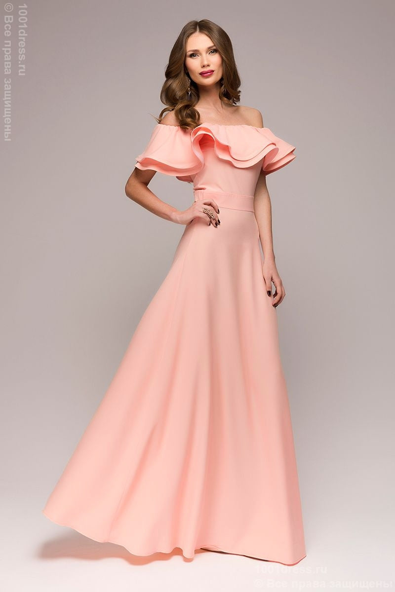 Maxi length dress DM00546CR with flounces on shoulders; color: coral