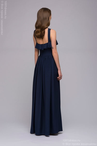 Dress DM00745DB maxi flounces on the chest and the original straps; dark-blue Colour