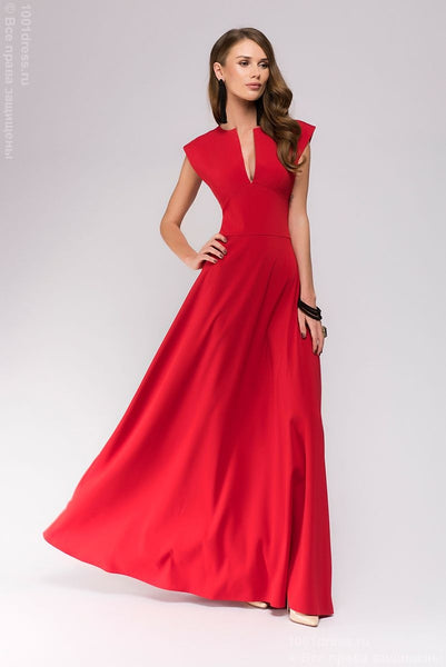 DM00697RD Maxi length dress with deep neckline; color: red