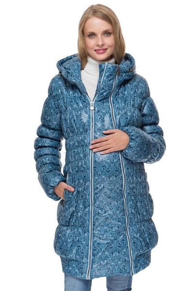 "Winter jacket 3in1 ""Hague"" color: blue with a pattern for pregnant women, babywearing"