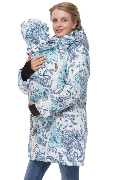 "Winter jacket 3 in 1 ""Madeira""; color: paisley on white  for pregnant women and baby wear"