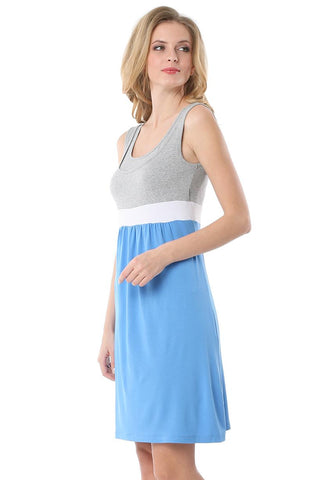 """Tricolor"" Maternity and nursing blue/melange dress"