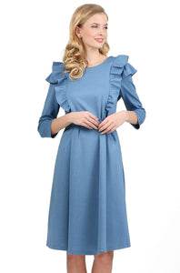 """Evelina"" Maternity and nursing dress; color: blue mélange"