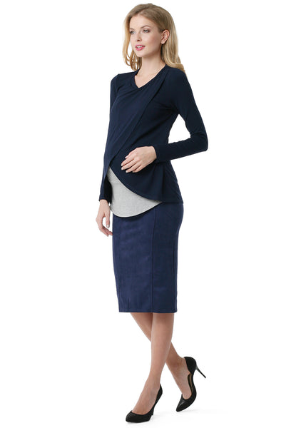 "Skirt ""Dermis"" for pregnant eco-suede 2 in 1 ; dark-blue colour"