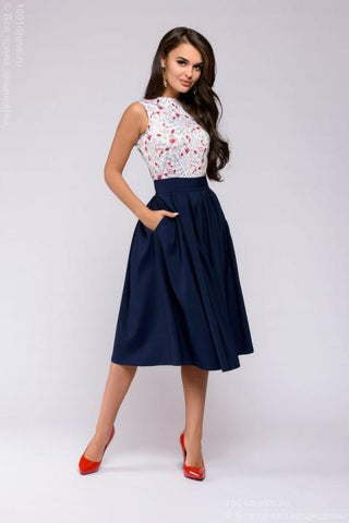 DM00373DB dress Navy MIDI length with a bright printed top sleeveless