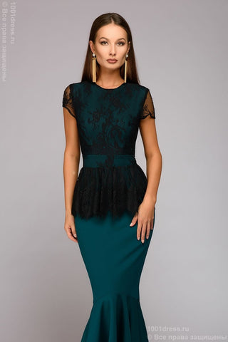 Maxime dress DM00901GR with lace top; color: green / black