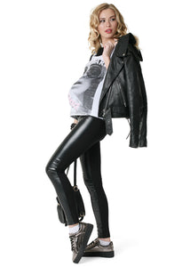 "Trousers ""French"" for pregnant women, usual; color: black / eco-leather"
