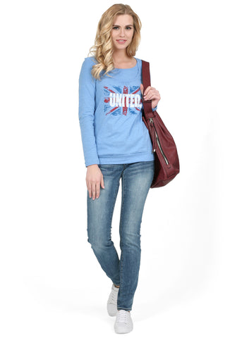 "T-shirt long sleeve ""Gabija"" Maternity and nursing ; color: denim blend"