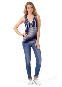 Nursing tank top MX04 ; colour: dark blue/white