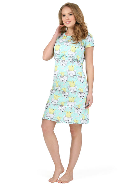 """PH05"" Maternity and nursing home dress; kolor: mentol"