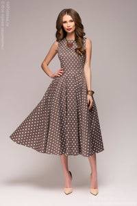 "Dress DM00532 coffee length midi with print ""peas"""