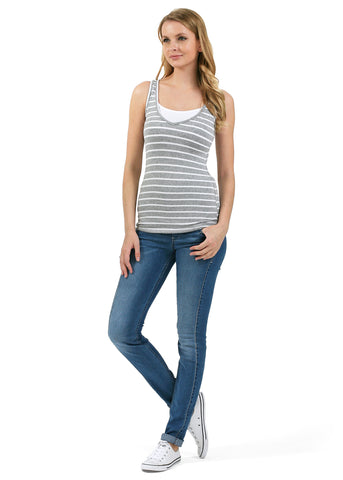 Nursing tank top MB03; colour: grey melange/white