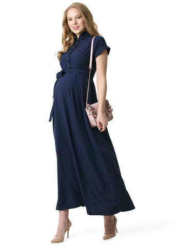 """Alamani"" Maternity and nursing dress in dark blue"