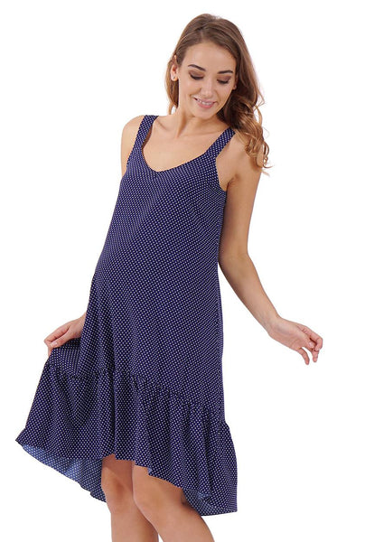 """Blue Belle"" maternity Sundress ; color: dark blue/polka dots"