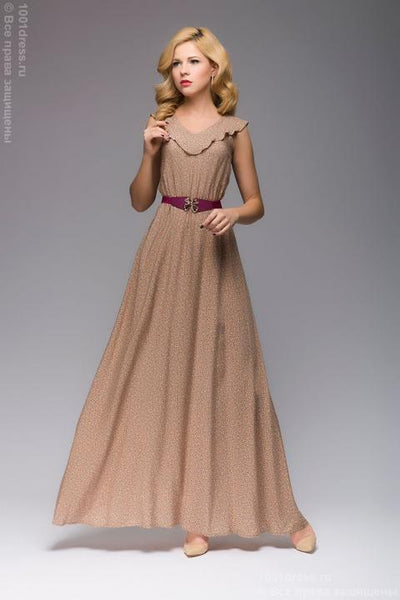 Dress DM00603BG beige maxi length with small floral print sleeveless