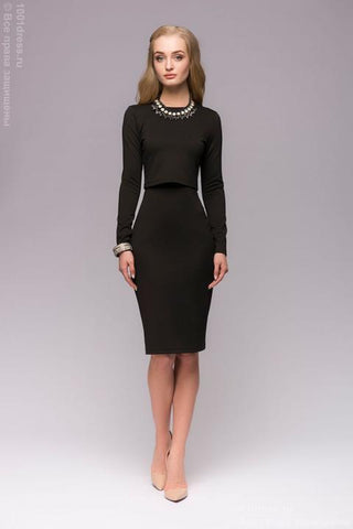 Set DM00666BK from dress with straps and top with long sleeves in black color