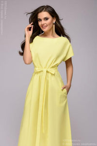 Dress DM00815YL yellow loose cut with short sleeves