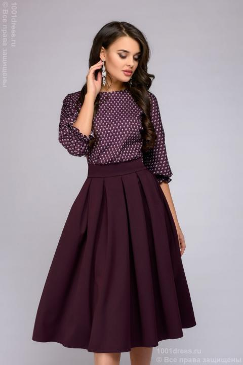 Dress DM00234BO burgundy midi with bat sleeves and a printed top