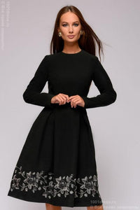 Dress DM00702BK black midi length with embroidery and long sleeves