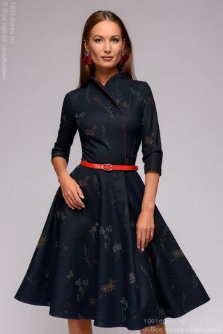 Dress DM01014FL dark blue with a floral print and stand-up collar