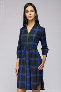 Dress DM01025DB shirt tiered dark blue checkered