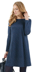 """Earlene"" Maternity dress; color: navy blue pattern"