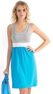 """Tricolor"" Maternity and nursing turquoise/melange dress"