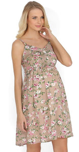 """Kaity"" Maternity brown dress with flowers"