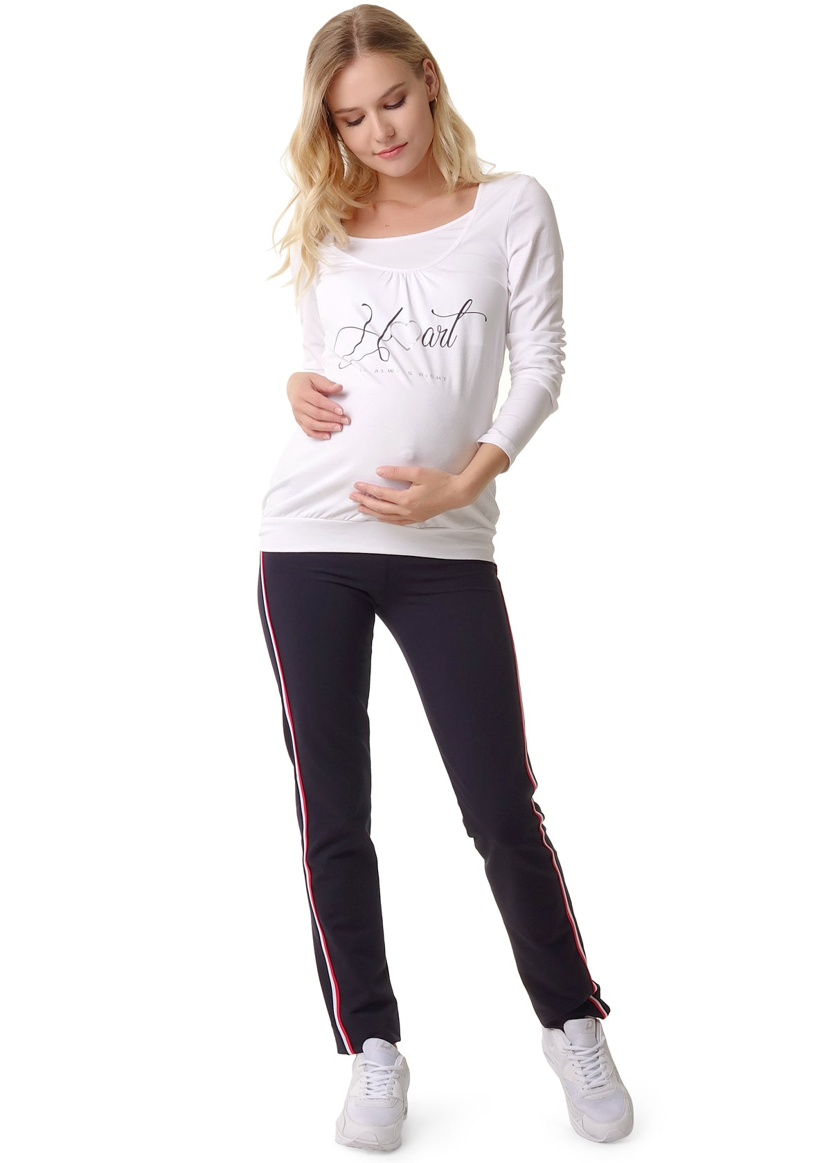 "Blouse ""Freddie"" for pregnant and lactating; color: white / inscription"