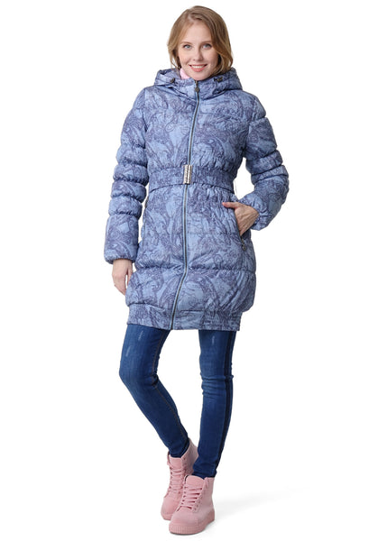 "Winter jacket 3in1 ""Hague"" color: light gray with patterns  for pregnant women, babywearing"
