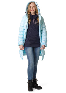 "Winter jacket 3in1 ""Hague"" color: snowflakes on blue  for pregnant women, babywearing"