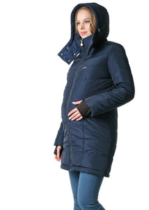 "Winter jacket 3 in 1 ""Madeira""; color: color: blue  for pregnant women and baby wear"