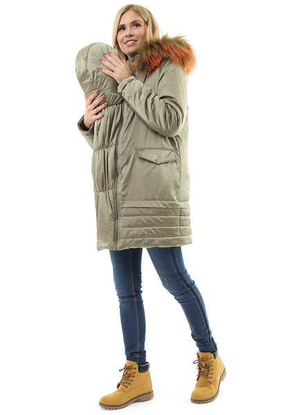 "Winter jacket 3 in 1 ""Orleans"" for pregnant women and baby wear; color: golden olive"